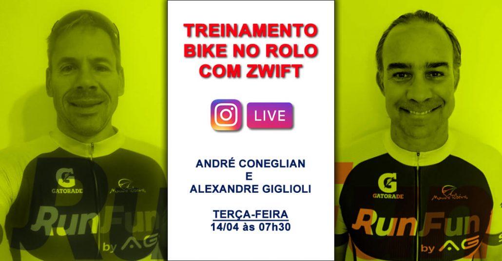 Live RunFun Treino de Bike no Rolo com Zwift - Alexandre Giglioli e André 14/04/2020